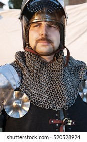 Photo of courage man. Warrior. Medieval knight