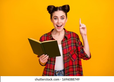 Photo of crazy student lady open mouth hold book read adventure story literature lesson raise finger have question answer wear casual plaid shirt isolated yellow color background