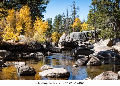 A photo of a creek with boulders, rocks and aspens turning color in the Hope Valley area of the Sierra Nevada in California.