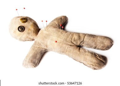 photo of creepy voodoo doll isolated on white