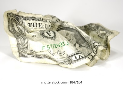 Photo of a Crumpled Dollar Bill