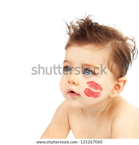 photo cute baby boy red kiss stock photo edit now 125267060