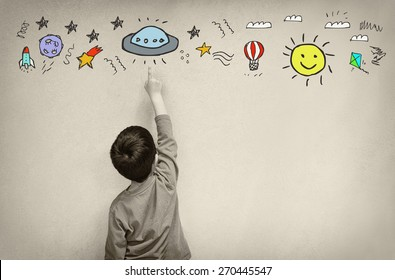 Photo of cute kid imagine space ship fantasy. set of infographics over texured wall background