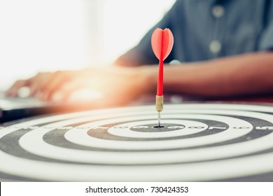 Photo darts that stick to the target, Concept to target marketing or in the way business, The businesses must have a goal the driving force, In order to succeed.