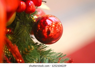 Photo decoration macro bright shiny Christmas balls with ribbons for the holiday