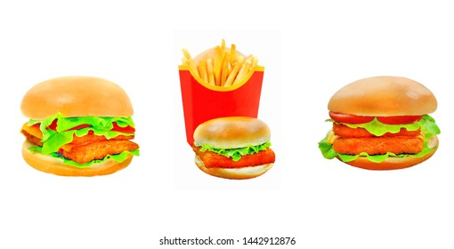 Photo of a delicious fresh burger with fish on a beautiful background