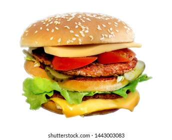 Photo of a delicious fresh burger with meat on a dark background