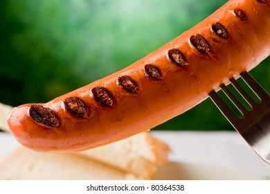 photo of delicious grilled hot dog with sauerkraut and bread,