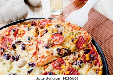 Photo of delicious italsian pizza