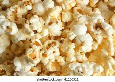 Photo of delicious white popcorn background
