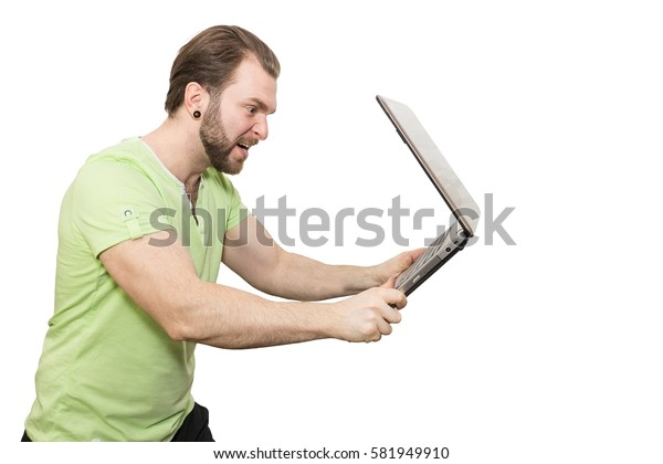 The photo depicts a man with a laptop on a white background