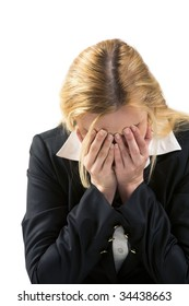 Photo of depressed female being worried by problems in business