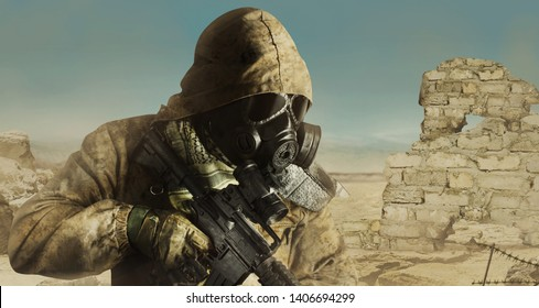 Photo of a desert post-apocalyptic soldier in tactical jacket, gas mask, gloves, rifle and armor standing on daylight wasteland background side view.