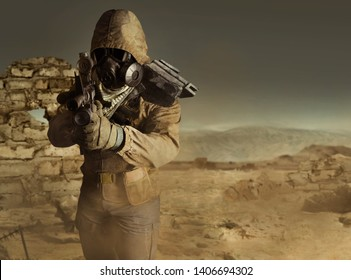 Photo of a desert post-apocalyptic soldier in tactical jacket, gas mask, gloves, rifle and armor standing aiming on evening wasteland background front view.