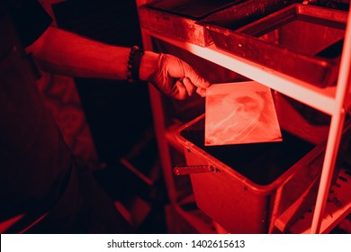 Photo development. Darkroom, Ambrotype. Red light.
