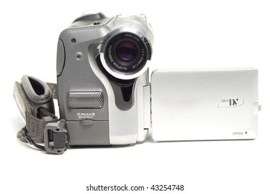 Photo of digital camcorder isolated over white