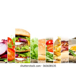 Photo of double hamburger mix with ingredients and white space for text