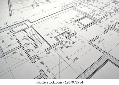 Photo of the drawing plan of the projected building