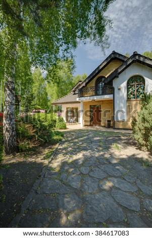 photo driveway trees elegant stylish mansion stock photo edit now