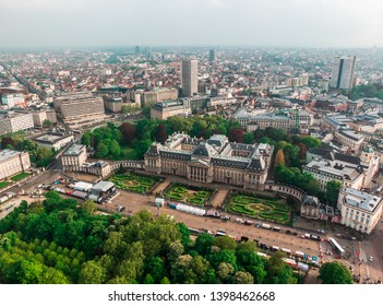 Photo from the drone of the Royal Palace in Brussels - one of the main attractions of the city. Panoramic aerial view, Belgium
