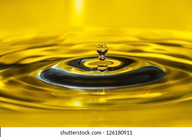 Photo of a drop of water on a yellow background