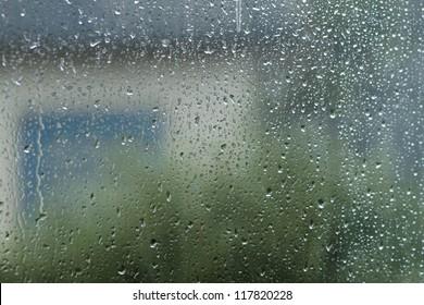 Photo of drops of a rain on a windowpane