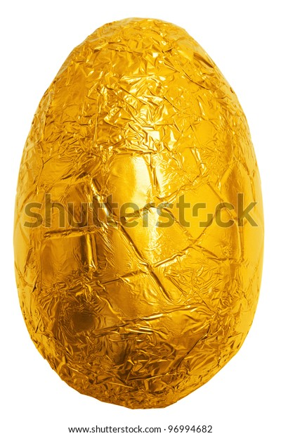 Photo of an easter egg wrapped in gold foil isolated on a plain white background with clipping path.
