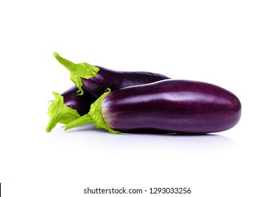 Photo of eggplant on white background copy space. Insulated Eggplant. Fresh eggplant isolated on white background, with clipping path.