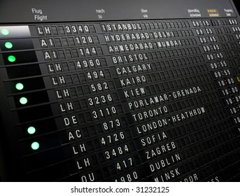 Photo of an electronic board at the airport