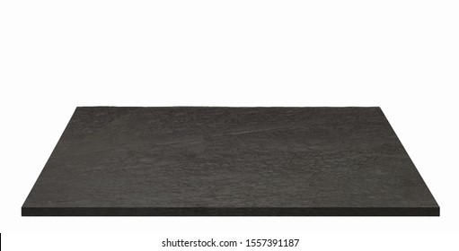 Photo of empty black stone or granite table top isolated on checkered background including clipping path