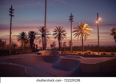 Photo of an empty skate park in Barcelona.