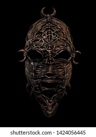 Photo ethnic mask. Mask for holiday ritual and carnival isolated on black background.