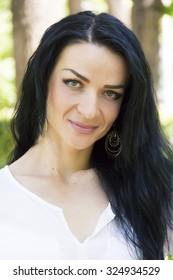 Photo of European woman with black hair