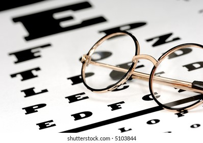 Photo of Eyeglasses on a Eye Chart - Optometry Concept