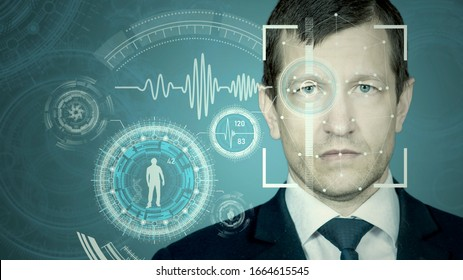 Photo Face recognition by meshing and scanning the eye. Biometric verification and identification. Technology of the future.