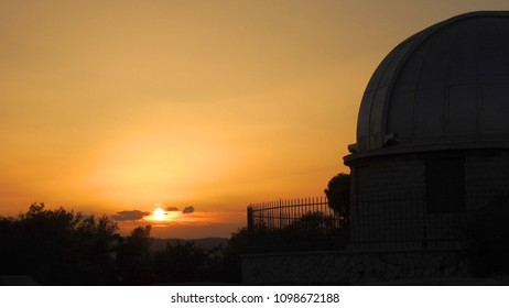 Photo from famous Athens Observatory at sunset, Athens historic center, Attica, Greece