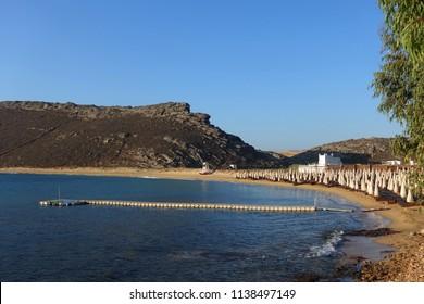 Photo of famous beach of Panormos near Agios Sostis, Mykonos island, Cyclades, Greece