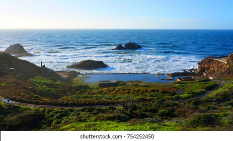 Photo from famous Land's End with views to iconic Golden Gate bridge, San Francisco, California, United States of America