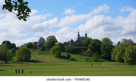 Photo from famous Park of Greenwich with famous Observatory and views to isle of Dogs, Canary Wharf, London, United Kingdom