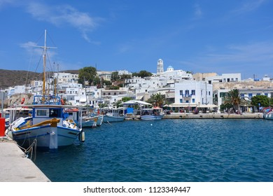 Photo from famous port and bay of Adamantas, Milos island, Cyclades, Greece