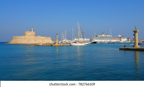 Photo from famous port of iconic medieval old town of Rhodes island, Dodecanese, Greece