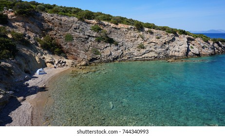 Photo of famous seascape with clear turquoise water, Porto Rafti, Mesogeia, Attica, Greece