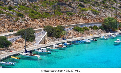 Photo from famous small port in island of Irakleia with  turquoise clear waters, Cyclades, Greece