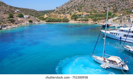 Photo from famous small port in island of Shinousa or Schinoussa with  turquoise clear waters, Cyclades, Greece