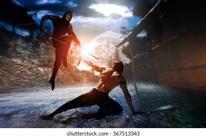 Photo fantasy battle ninja, super heroes, assassins, Fighter ninja with sword, combative sport