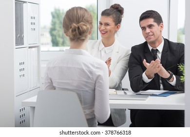 Photo of female candidate during successful job interview