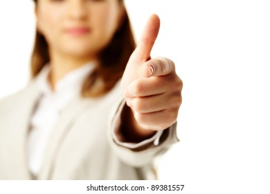 Photo of female hand with forefinger pointing at you