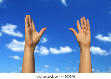 photo of female hands trying to reach the sky