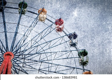 a photo of ferris wheel in graphic grunge style