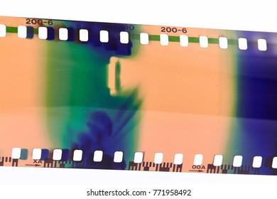Photo film negative isolated on white background